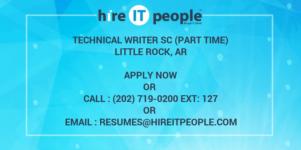 Technical Writer Sc Part Time Hire It People We Get