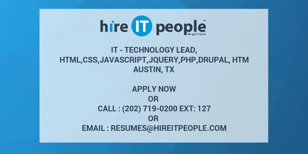 IT - Technology Lead, HTML,CSS,Javascript,Jquery,PHP,Drupal
