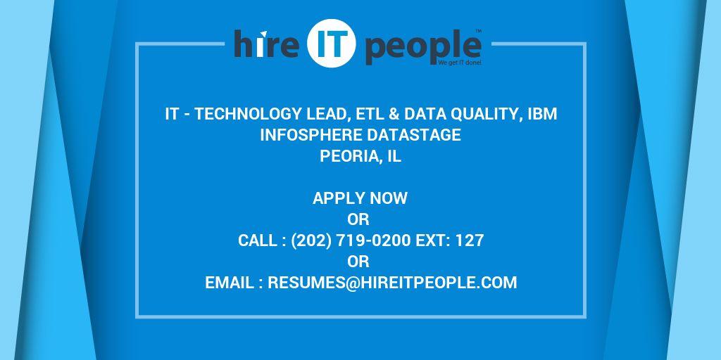IT - Technology Lead, ETL & Data Quality, IBM InfoSphere