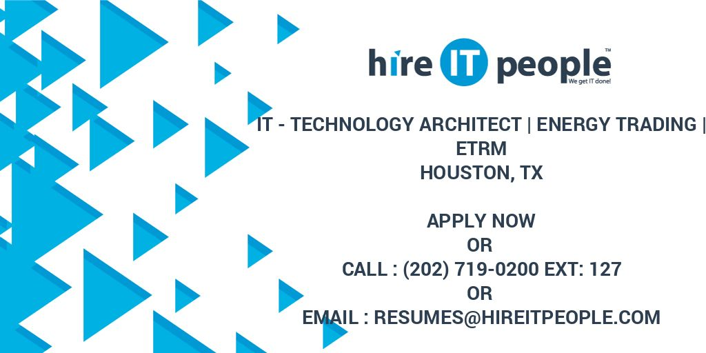 IT - Technology Architect | Energy Trading | ETRM - Hire IT People