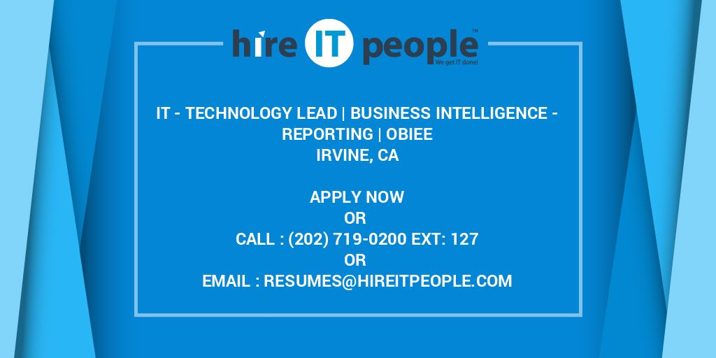 IT - Technology Lead   Business Intelligence - Reporting