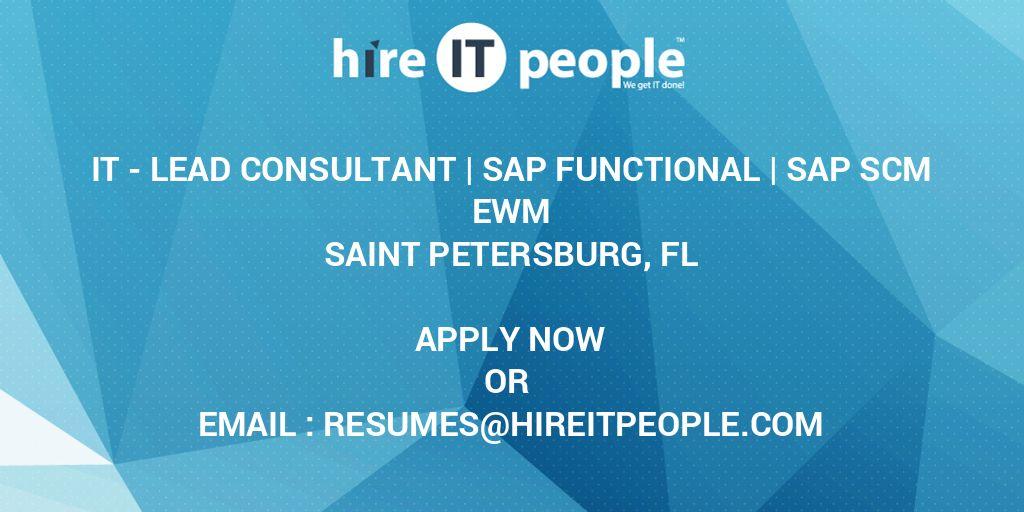 IT - Lead Consultant | SAP Functional | SAP SCM EWM - Hire IT People