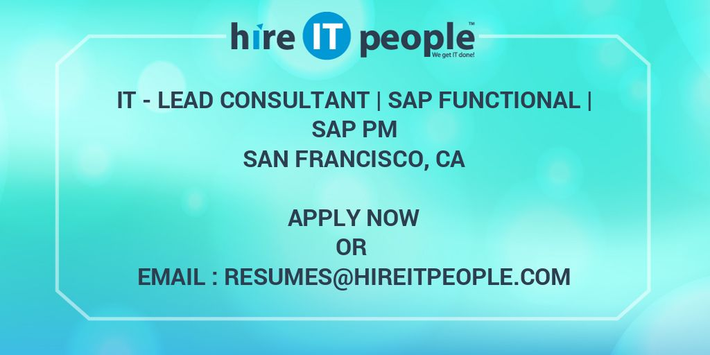 It Lead Consultant Sap Functional Sap Pm Hire It