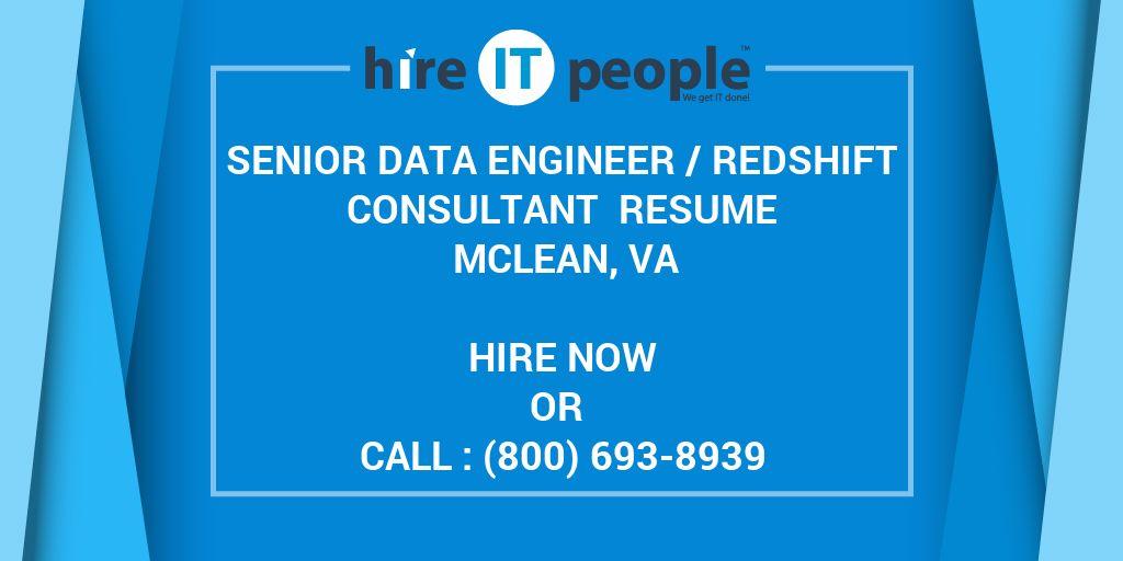Senior Data Engineer /Redshift Consultant Resume Mclean, VA - Hire