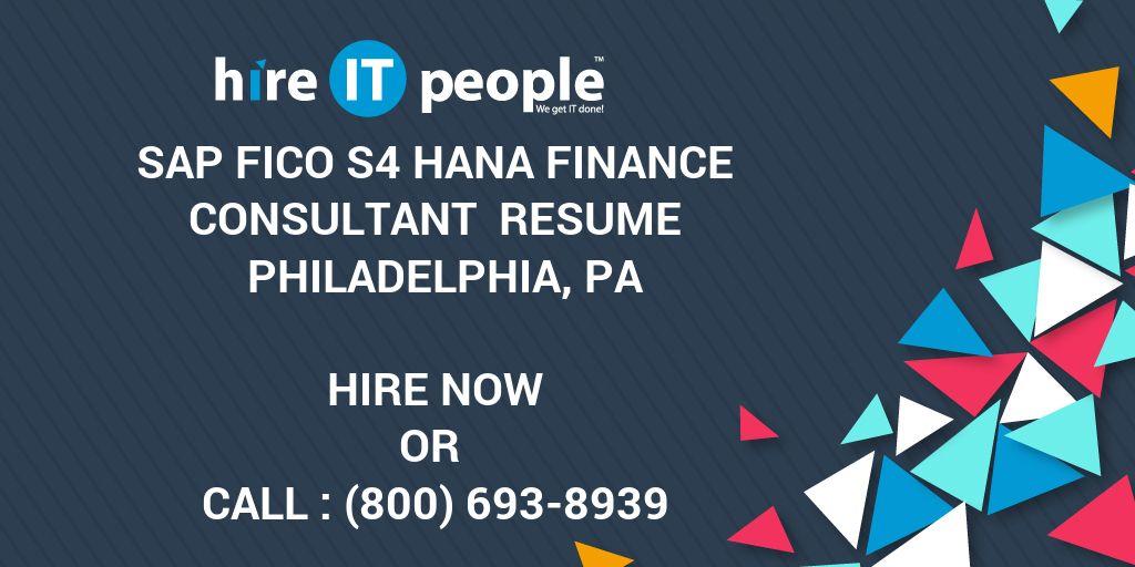sap fico s4 hana finance consultant resume philadelphia