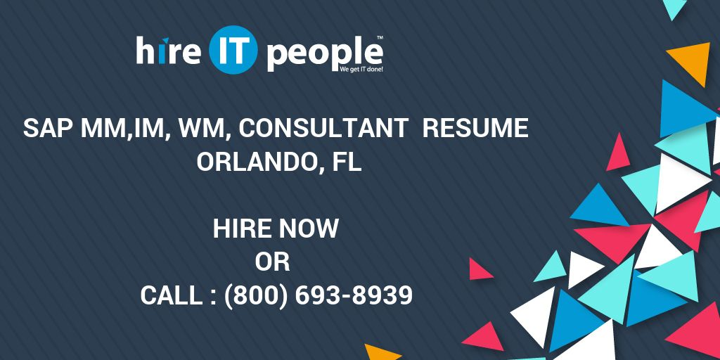 SAP MMIM WM Consultant Resume Orlando FL Hire IT People We