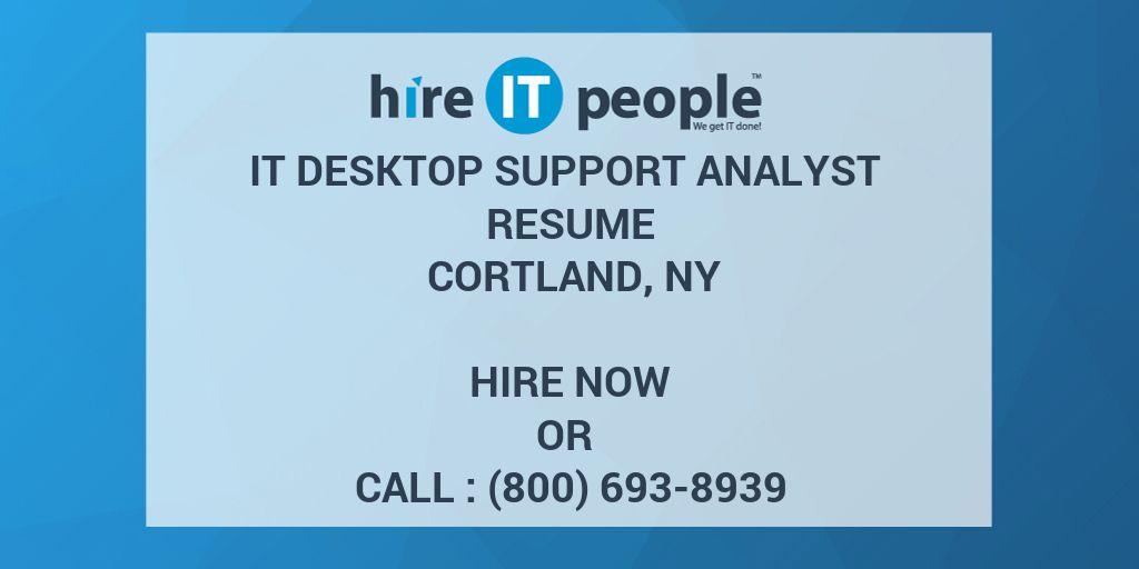 IT DESKTOP SUPPORT ANALYST Resume Cortland NY