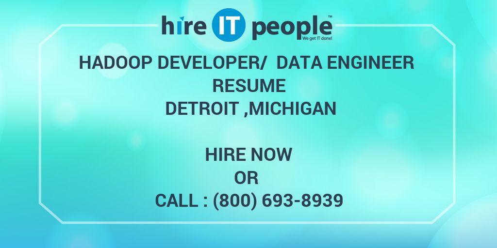 hadoop developer data engineer resume detroit michigan