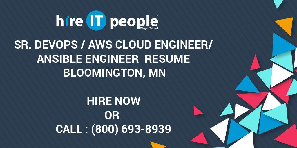 Sr  DevOps /AWS Cloud Engineer/Ansible Engineer Resume Bloomington