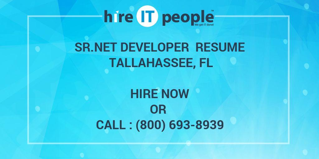 Sr Net developer Resume Tallahassee, FL - Hire IT People