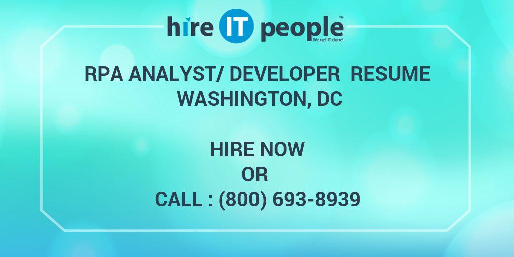 rpa analyst  developer resume washington  dc