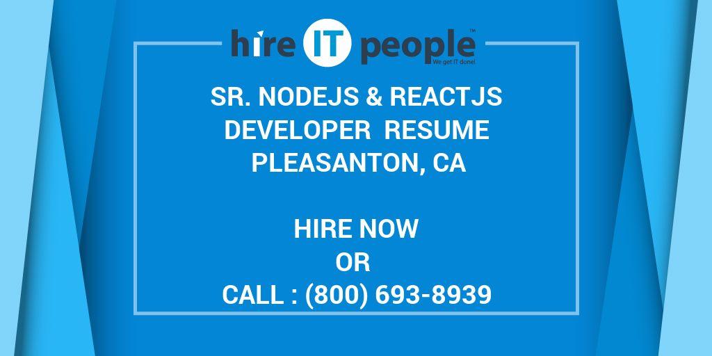 Sr Nodejs Reactjs Developer Resume Pleasanton Ca Hire It