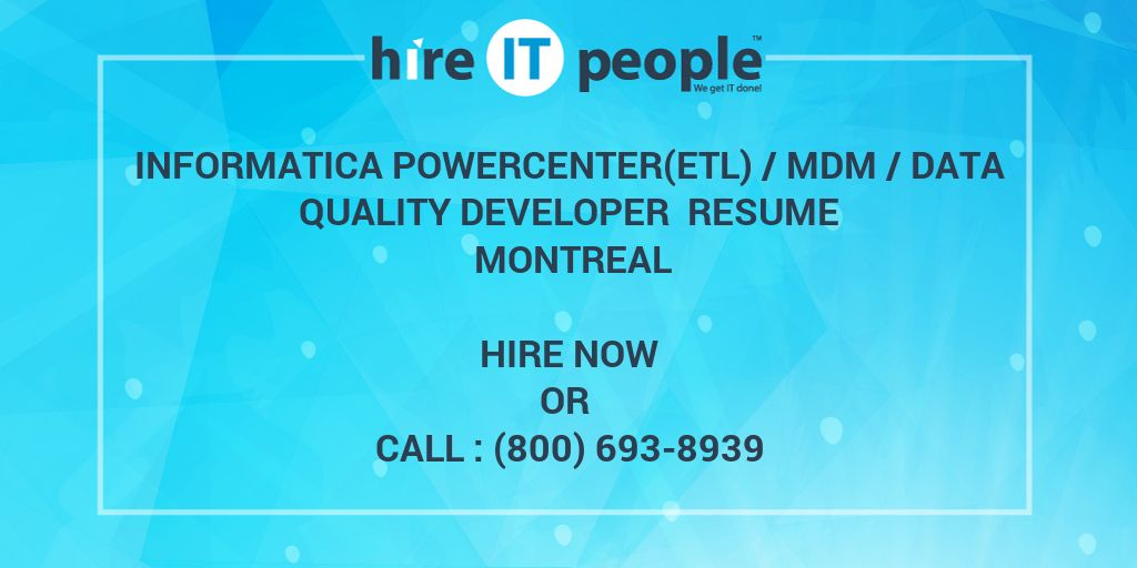 Informatica PowercenterETL MDM Data Quality Developer Resume