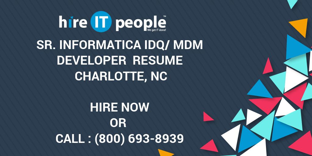 Sr Informatica IDQ MDM Developer Resume Charlotte NC