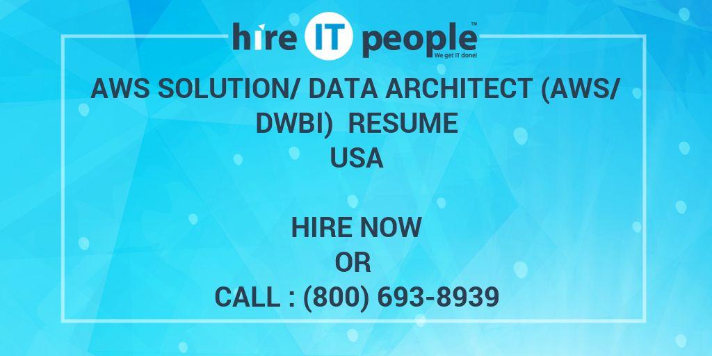 aws solution  data architect  aws  dwbi  resume
