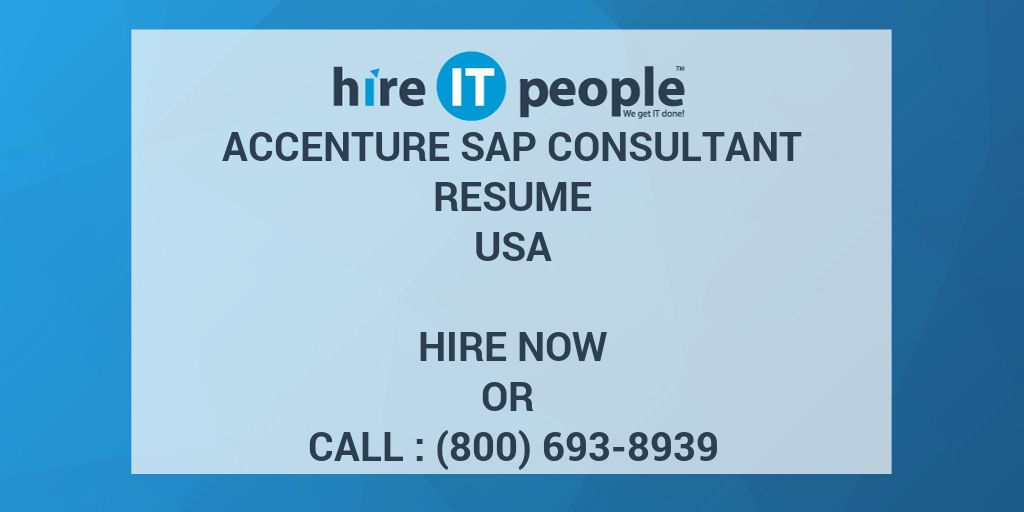 accenture sap consultant resume - hire it people