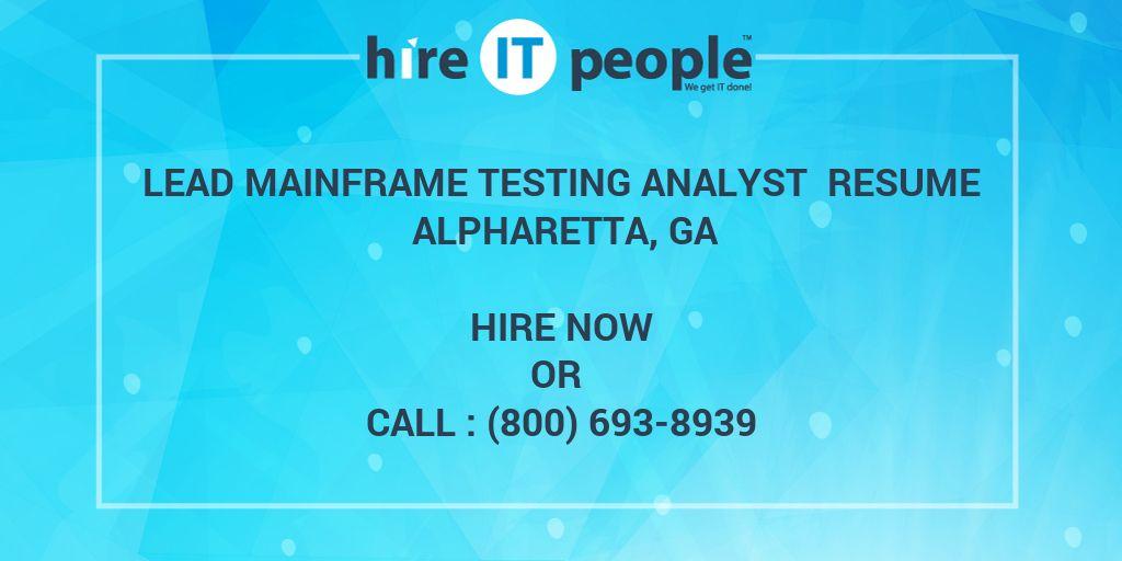 Lead Mainframe Testing Analyst Resume Alpharetta GA