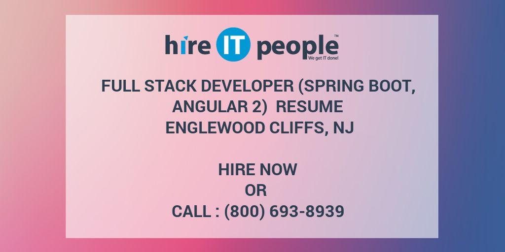 full stack developer  spring boot  angular 2  resume
