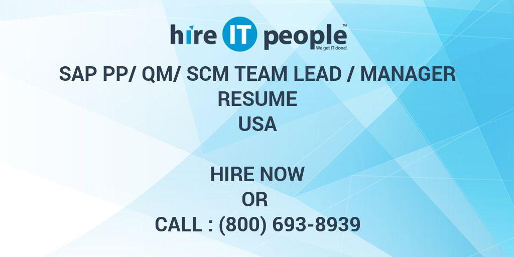 SAP PP/QM/SCM Team Lead /Manager Resume - Hire IT People - We get IT ...