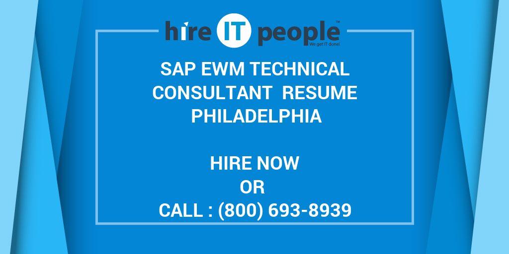 SAP EWM Technical Consultant Resume Philadelphia - Hire IT People