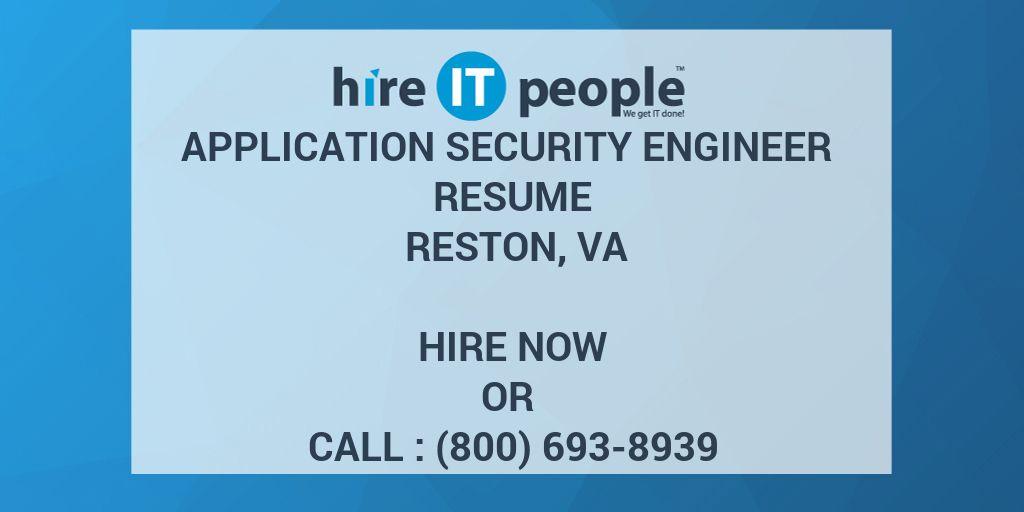 Application Security Engineer Resume Reston, VA - Hire IT