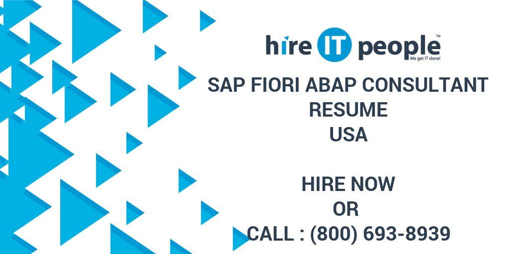 SAP FIORI ABAP Consultant Resume - Hire IT People - We get