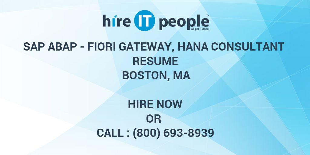 SAP ABAP - Fiori Gateway, HANA Consultant Resume Boston, MA