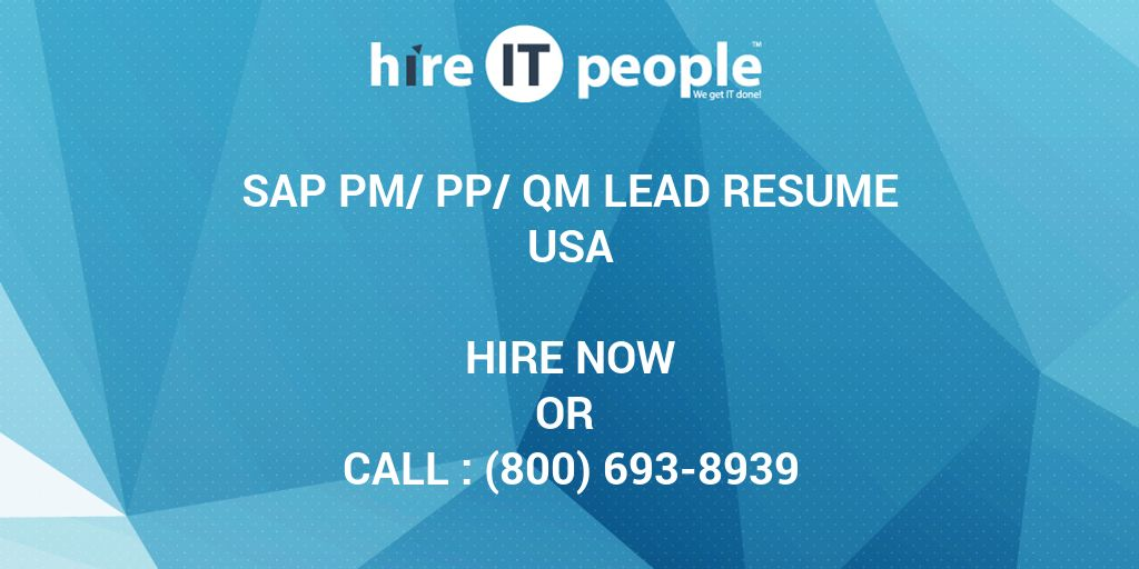 Sap Pm Pp Qm Lead Resume Hire It People We Get It Done