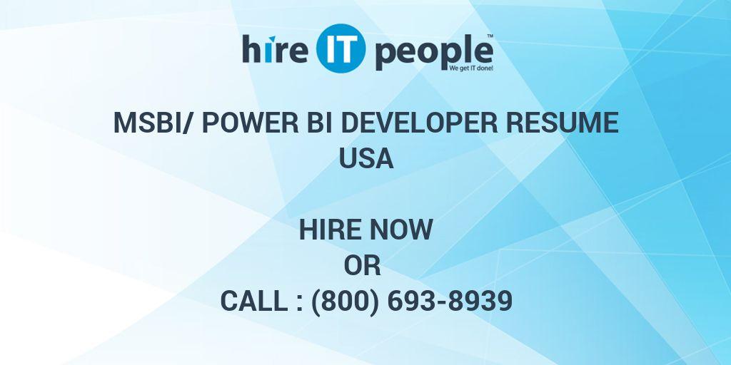 msbi  power bi developer resume - hire it people