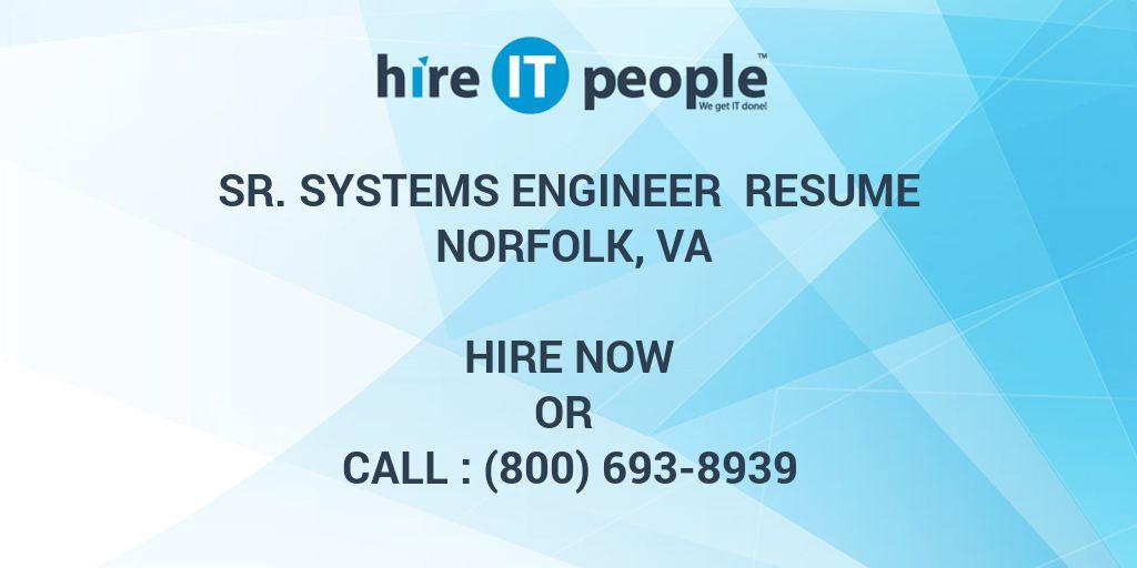 Sr  Systems Engineer Resume Norfolk, VA - Hire IT People