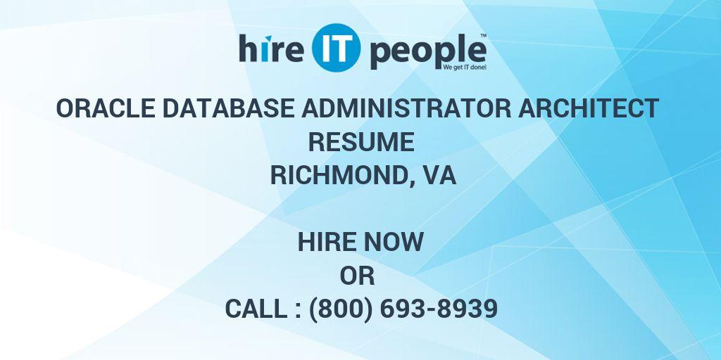 Oracle Database Administrator Architect Resume Richmond, VA