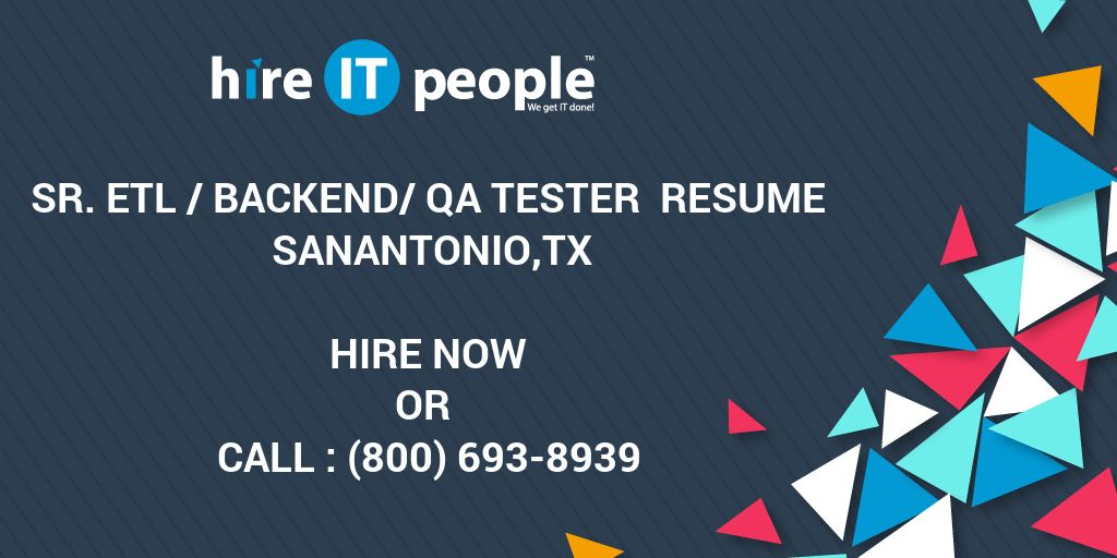 Retail Management Resume Excel Sr Etl Backendqa Tester Resume Sanantoniotx  Hire It People  How To Write An Impressive Resume with Pastor Resumes Excel Sr Etl Backendqa Tester Resume Sanantoniotx  Hire It People  We Get  It Done Resume Hair Stylist Pdf
