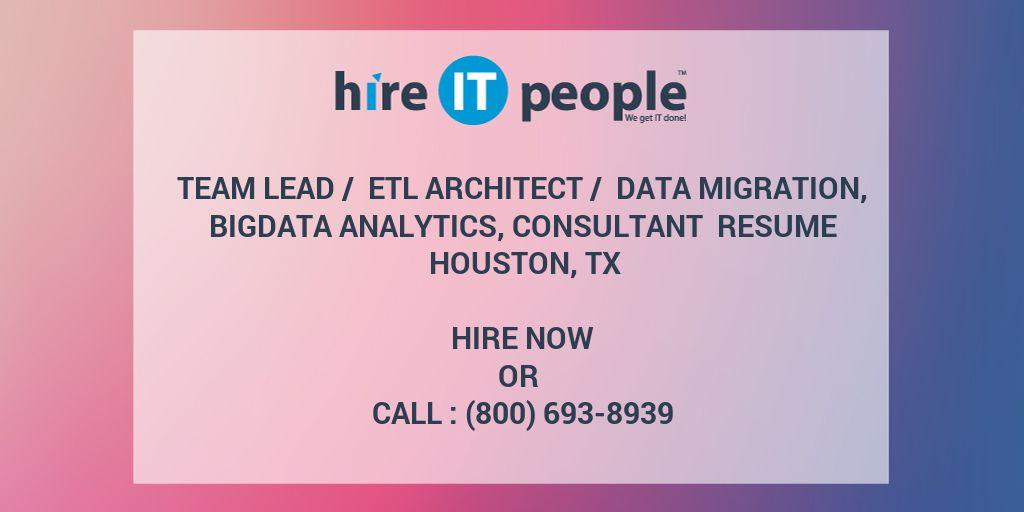 Team Lead / ETL Architect / Data migration, Bigdata
