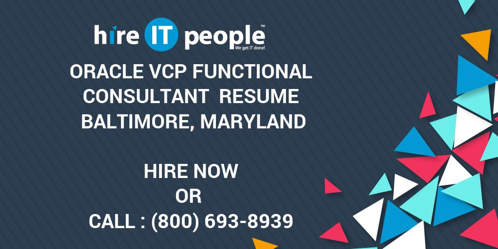 oracle vcp functional consultant resume baltimore