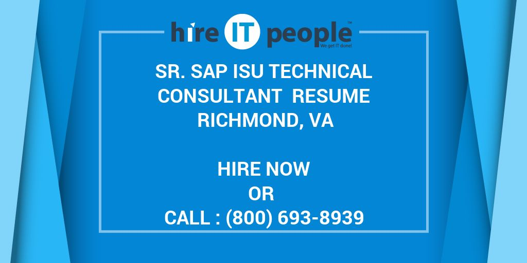 Sr  SAP ISU Technical consultant Resume Richmond, VA - Hire IT