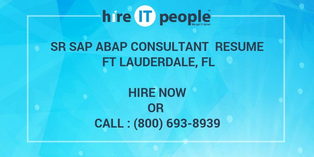 Sr SAP ABAP Consultant Resume Ft Lauderdale, FL - Hire IT People