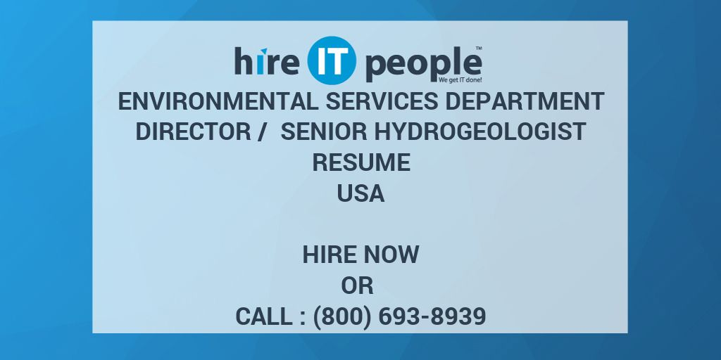 Environmental Services Department Director / Senior Hydrogeologist ...