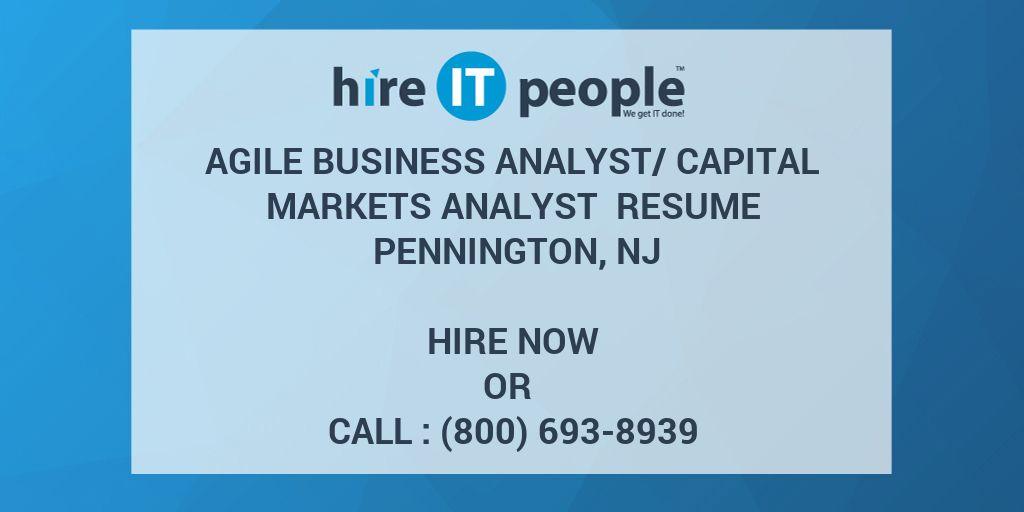 Agile Business Analystcapital Markets Analyst Resume Pennington Nj