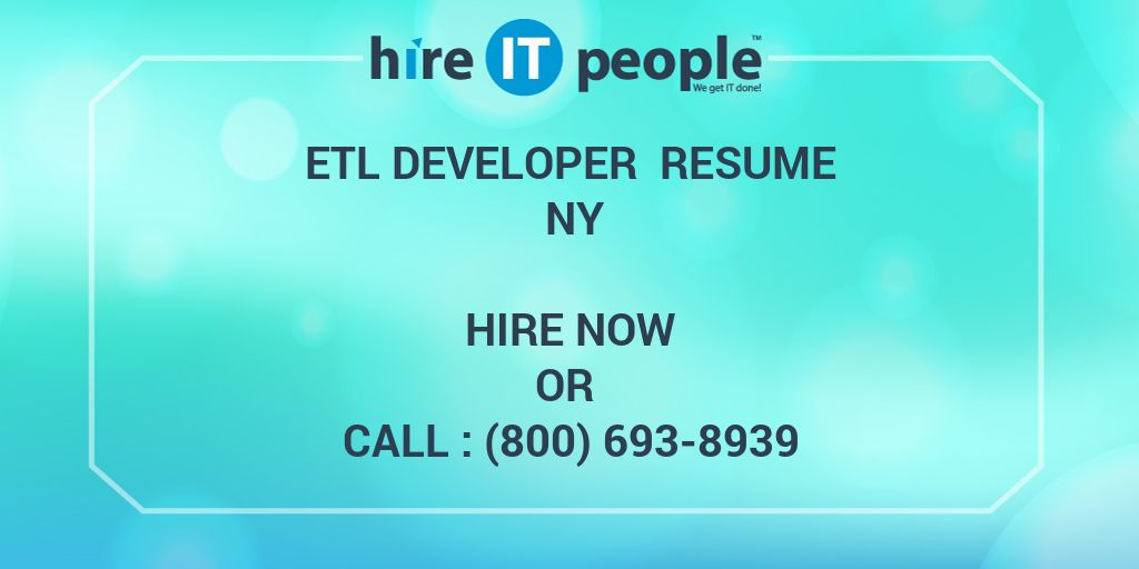 etl developer resume ny hire it people we get it done - Etl Developer Resume