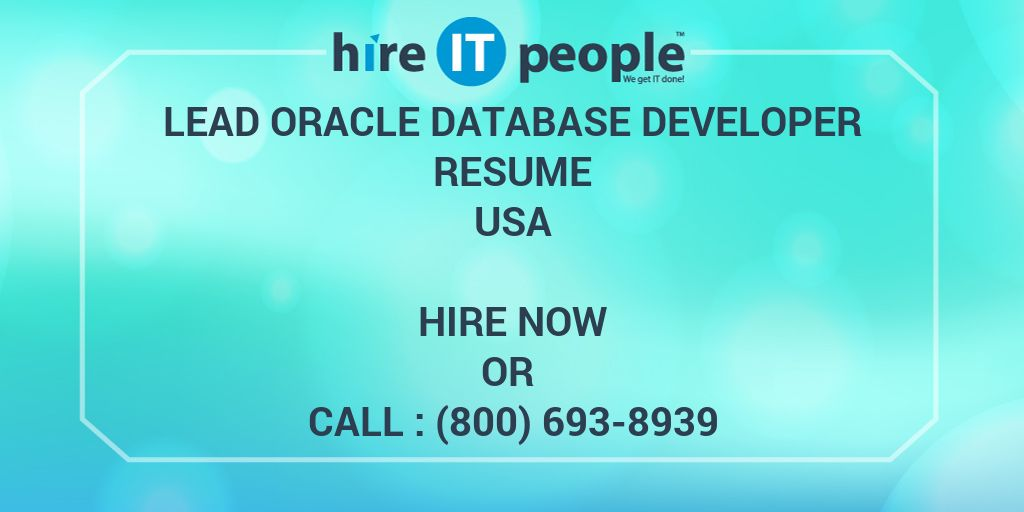 Lead Oracle Database Developer Resume