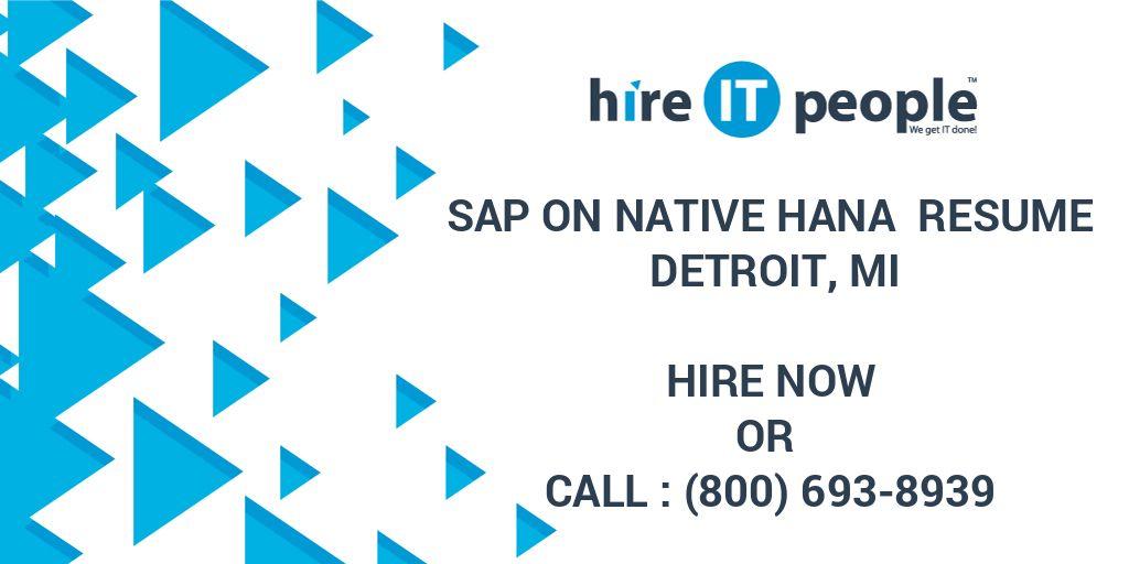 SAP on Native HANA Resume Detroit, MI - Hire IT People - We get IT done