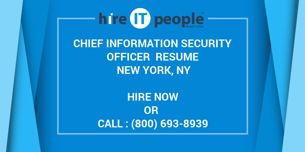 Chief Information Security Officer Resume New York NY