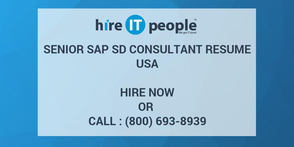 senior sap sd consultant resume - hire it people