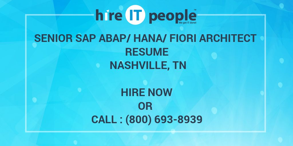 Senior SAP ABAP/HANA/FIORI Architect Resume Nashville, TN