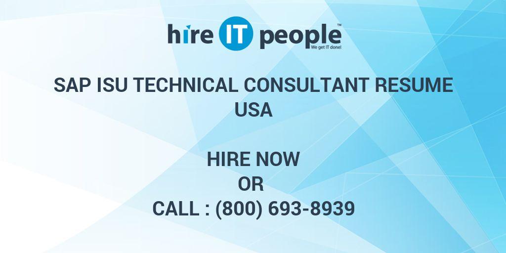 SAP ISU technical Consultant Resume - Hire IT People - We
