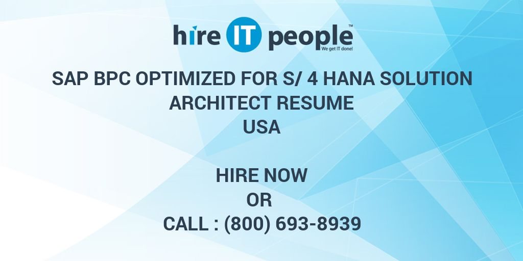 SAP BPC optimized for S/4 Hana Solution Architect Resume