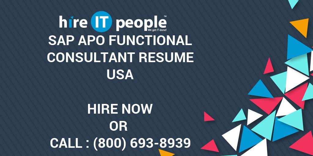 sap apo functional consultant resume - hire it people