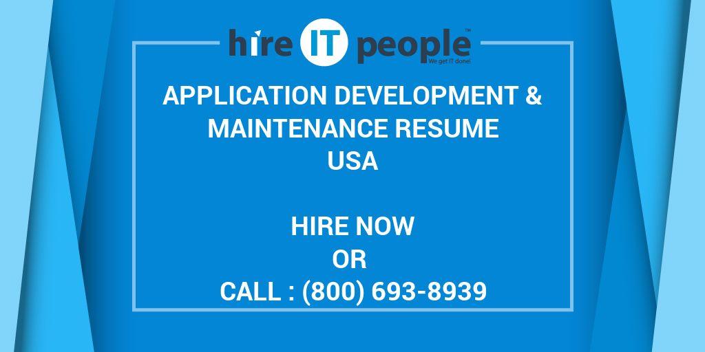 Application Development & Maintenance Resume - Hire IT