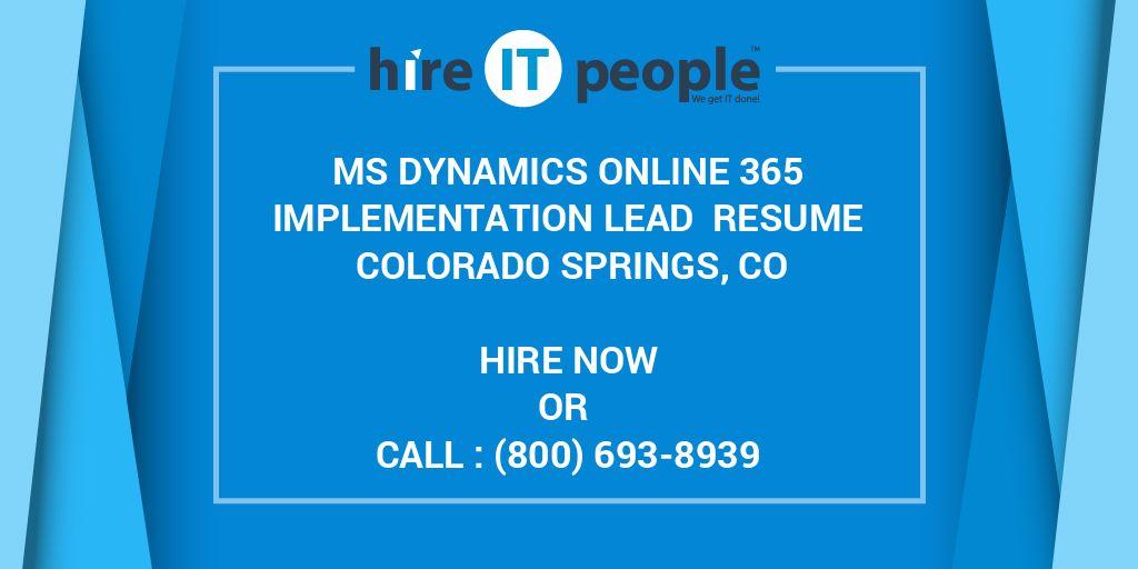 MS Dynamics Online 365 Implementation Lead Resume Colorado ...