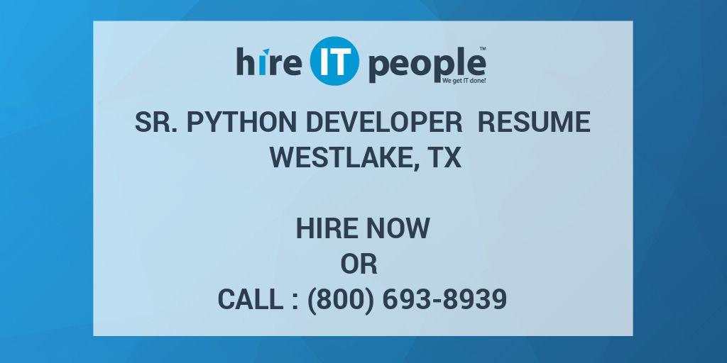 Sr  Python Developer Resume Westlake, TX - Hire IT People